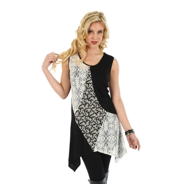 Firmiana Women's Sleeveless Black & White Lace Top