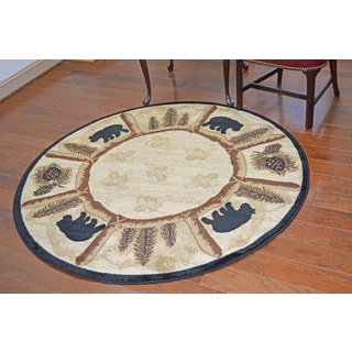 Lodge Bear Toccoa Beige Area Rug (5'3 Round)