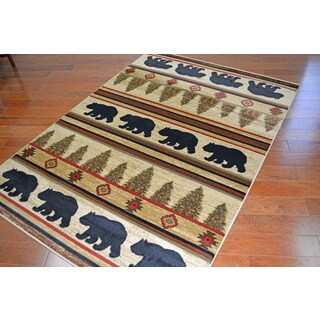 Lodge Bear Appalachian Beige Area Rug (5'3 x 7'3)