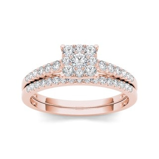 De Couer 10k Rose Gold 1/2ct TDW Diamond Cluster Engagement Ring Set (H-I, I2)