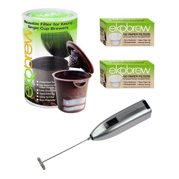 Ekobrew Refillable K-cup for Keurig Brewers with Paper Filter Bundle and Handheld Milk Frother
