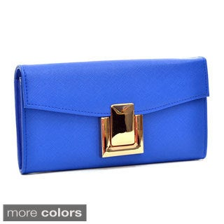 Dasein Gold-Tone Saffiano Faux Leather Wallet