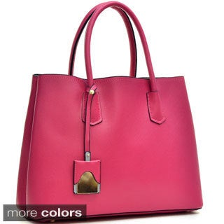 Dasein Colorblocked Faux Leather Tote Bag with Removable ID Tag