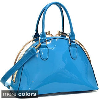 Dasein Faux Patent Leather Structured Satchel