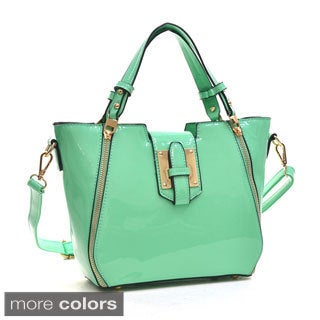 Dasein Faux Leather Fashion Satchel with Zipper Front Detail
