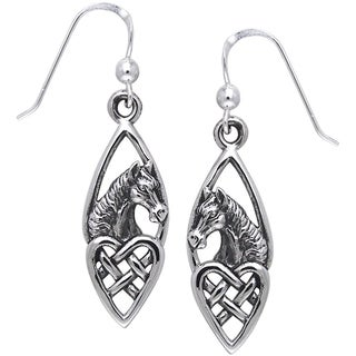 CGC Sterling Silver Horse with Celtic Heart Dangle Earrings