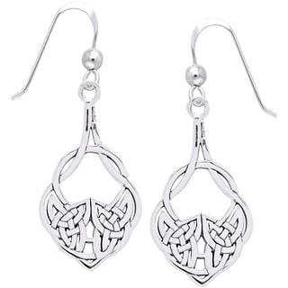 CGC Sterling Silver Celtic Teardrop Knot Work Dangle Earrings