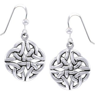 CGC Sterling Silver Celtic Trinity Quadrata Designed Dangle Earrings