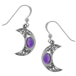 Carolina Glamour Collection Sterling Silver Crescent Moon Dangle Earrings with Celtic Knot Work and Purple Amethyst Stones