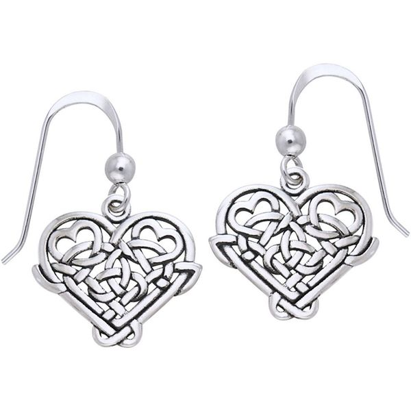 CGC Sterling Silver Celtic Knot Eternal Love Heart Dangle Earrings
