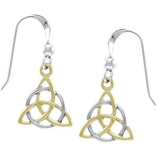 CGC 18k Goldplated Sterling Silver Celtic Trinity Knot Triquetra Circle of Life Dangle Earrings