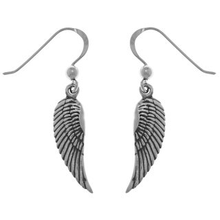 CGC Sterling Silver Guardian Angel Wings Dangle Earrings
