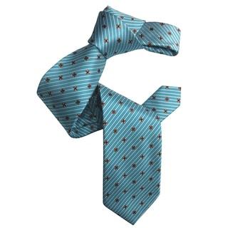 Dmitry Men's Turquoise Patterned Italian Silk Tie