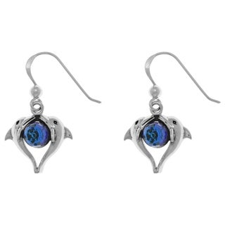 Carolina Glamour Collection Sterling Silver Double Love Dolphins Earrings with Bermuda Blue Crystals