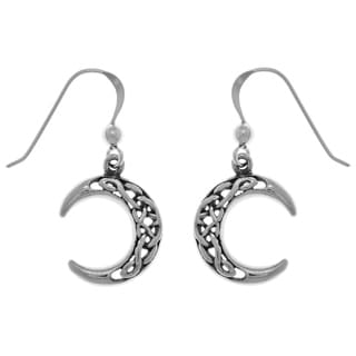 CGC Sterling Silver Celtic Crescent Moon Dangle Earrings