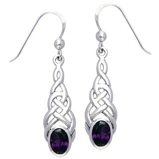 CGC Sterling Silver Elegant Celtic Knotwork Linear Dangle Earrings with Gemstone