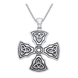 CGC Sterling Silver Celtic Trinity Knights Templar Cross Pendant on 18-inch Box Chain Necklace