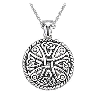CGC Sterling Silver Celtic Cross Amulet Pendant on 18-inch Box Chain Necklace