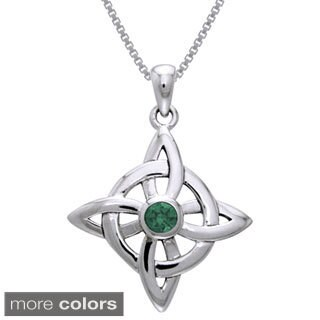 Carolina Glamour Collection Sterling Silver Celtic Good Luck Knot Pendant with Gemstone