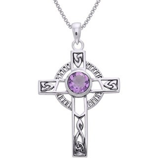 CGC Sterling Silver Celtic Cross with Knot Work and Gemstone Pendant on 18-inch Box Chain Necklace