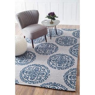 nuLOOM Handmade Modern Fancy Geometric Grey/ Blue Rug (7'6 x 9'6)