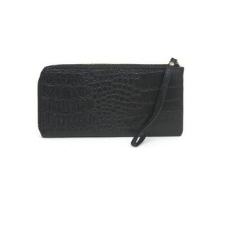 Rebecca and Rifka Croc Embossed Half Zip Around Wallet