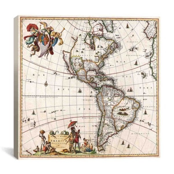 iCanvas Astronomy/ Space Visscher Map of North America and South America Canvas Print Wall Art