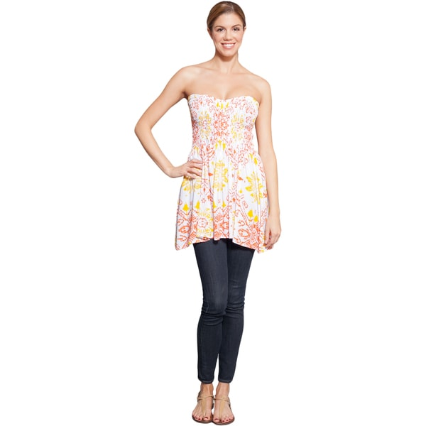 Summer Sunburst Floral Tube Top Dress (Nepal)