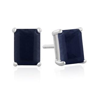 Sterling Silver Emerald-cut Midnight Sapphire Stud Earrings