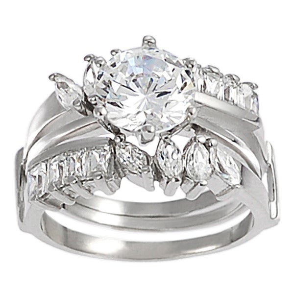 Journee Collection Sterling Silver Round-cut CZ with Marquis-cut Gemstones Bridal & Engagement Ring