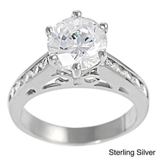 Journee Collection  Sterling Silver Cubic Zirconia Filigree Engagement Ring