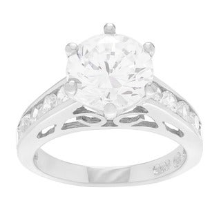 Tressa Sterling Silver Cubic Zirconia Filigree Engagement Ring
