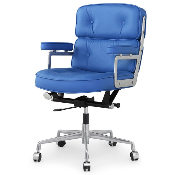 Cinque Office Chair In Blue Italian Leather