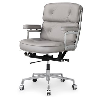 Cinque Office Chair In Grey Italian Leather
