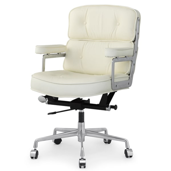 Cinque Office Chair In Cream Italian Leather