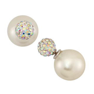 Sterling Silver Large Freshwater Pearl and Pave Crystal Stud Earrings (13-14mm)