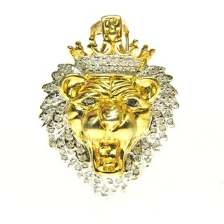 Sterling Silver Diamond Accent Lion Head Necklace