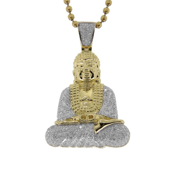 Sterling Silver 0.95ct TDW Pave-set Diamond Buddha Pendant