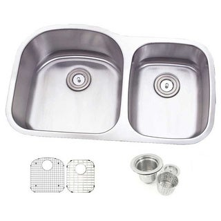 31.5-inch Offset Double 70/30 Bowl Undermount Stainless Steel Kitchen Sink Combo