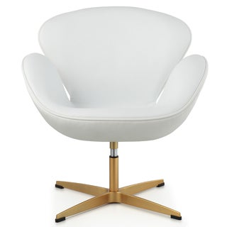 Dream Lounge Chair In White Italian Leather And Goldtone