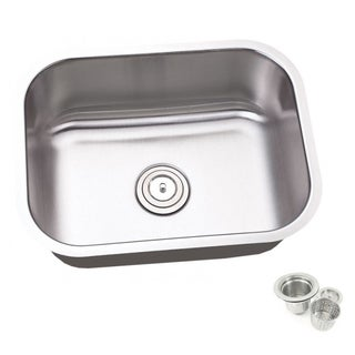 23.25-inch Single Bowl Undermount Stainless Steel Kitchen/ Island/ Bar Sink With Strainer