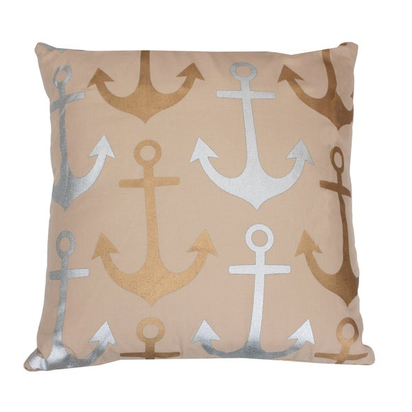 Metallic Coastal Anchor Pillow