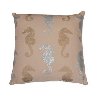 Metallic Coastal Seahorse Pillow
