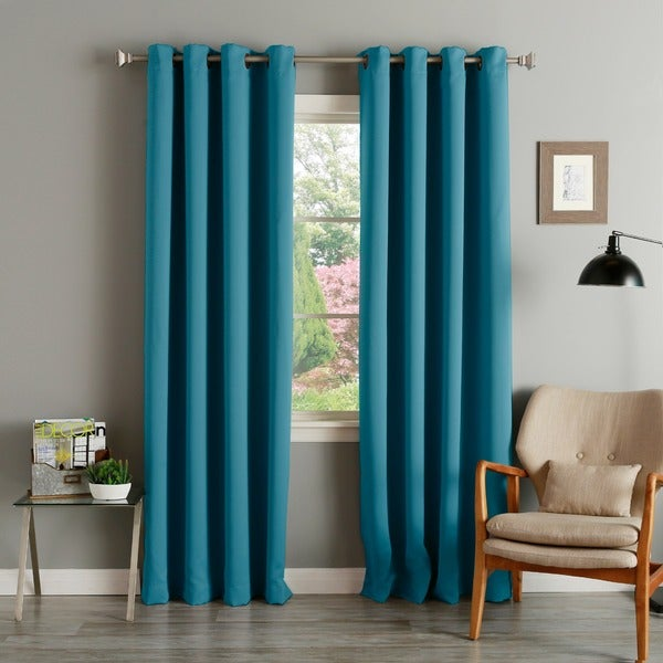 aurora home teal grommet top thermal insulated blackout curtain panel