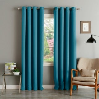 Aurora Home Teal Grommet-Top Thermal Insulated Blackout Curtain Panel Pair