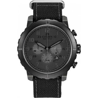 Citizen Men's CA4098-06E Eco Drive Black Stainless Steel Canvas Strap Watch