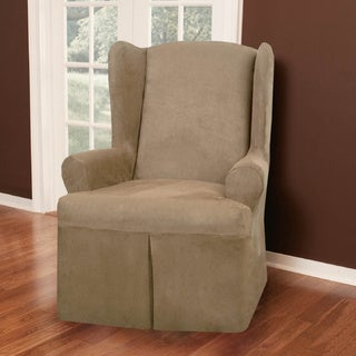 Faux Suede 1-piece Wing Chair Slipcover