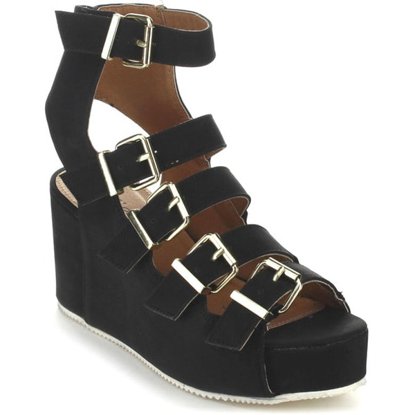 Qupid ALERT-02 Women's Strappy Gladiator Platform Wedge Sandals