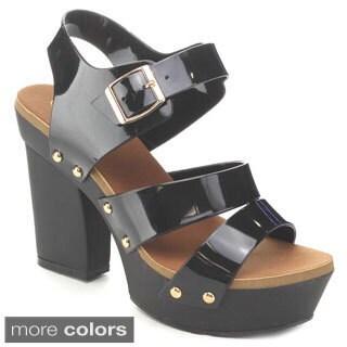 Nature Breeze Tegan Women's Studed Ankle Strap Platform Heels