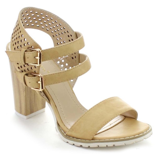 Nature Breeze Dazzle-01 Women's Chunky Heel Ankle Strap Cut Out Double Buckled Heels